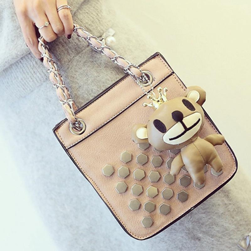 Korean fashion rivet Tote Bag 2016 spring new Handbag Pendant Chain leisure bag handbags Satchel leather bags women vintage