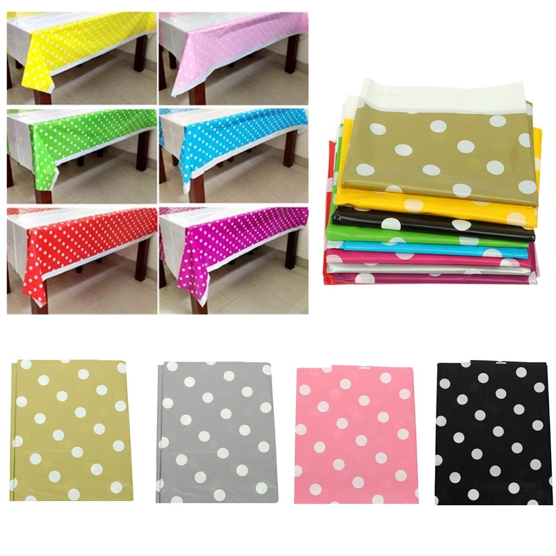 Colorful Polka Dot Plastic Tablecover Rectangular Tablecloth Practical Disposable Tablecloth For Kids Birthday Party Supplies(China (Mainland))