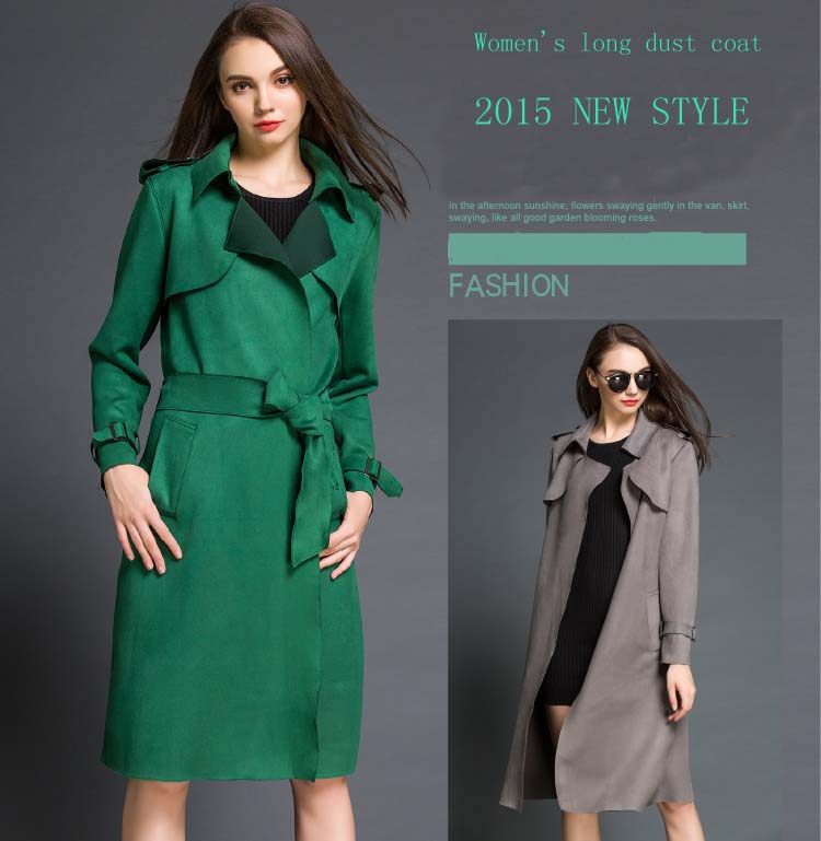 2015 women's new contracted fashion faux suede, long lace trench coat Women's trench coat cultivate one's morality