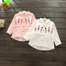 Children's spring clothing Long-Sleeve Cartoon Shirt Girls Casual Loose Long Shirt Design Girl & Boys blouse Clothes (China (Mainland))