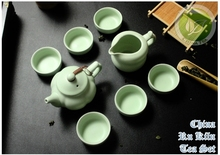 8pcs Warm Jade Chinese Ru Yao Kiln Ceramic Teaset Sky Cyan Rare Tea Set 1 Tea