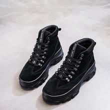 NEWDISCVRY Da Thật Chính Hãng Da nữ Mùa Đông Giày Sang Trọng Ấm Nữ Nền Tảng Giày Sneakers Thời Trang 2019 Chiến Đấu Giày Người Phụ Nữ Martin Giày(China)
