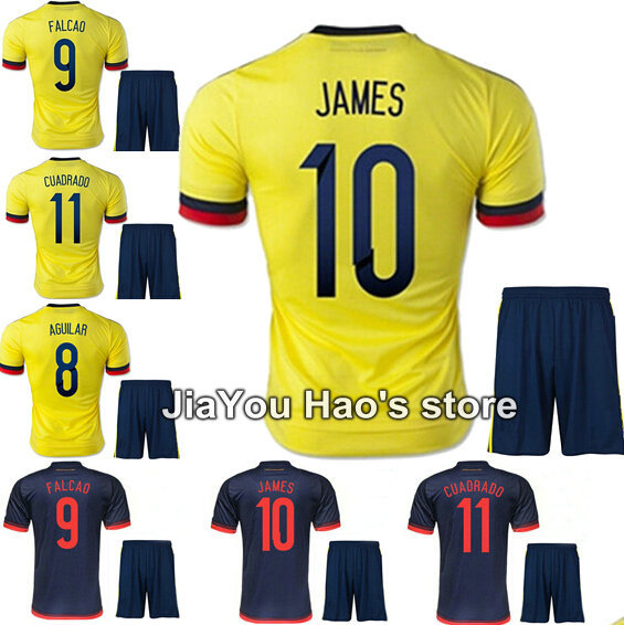 15/16 Colombia kits soccer jerseys short home JAMES FALCAO yellow football shirt CUADRADO 15 16 soccer uniforms set embroidery(China (Mainland))