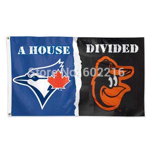 Toronto Blue Jays vs Baltimore Orioles House Divided Team Logo Black Flag 3FTX 5FT Baseball Custom flag(China (Mainland))