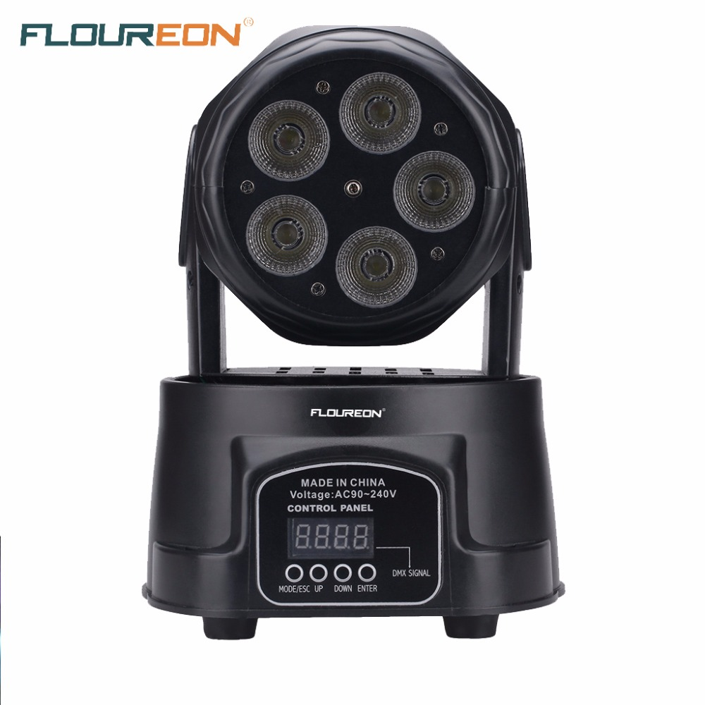 Floureon 75W LED Moving Head Light,10/15CH DMX512 15W*5pcs LED,Auto Rotating Stage Disco DJ Lighting for Indoor Party Club(China (Mainland))