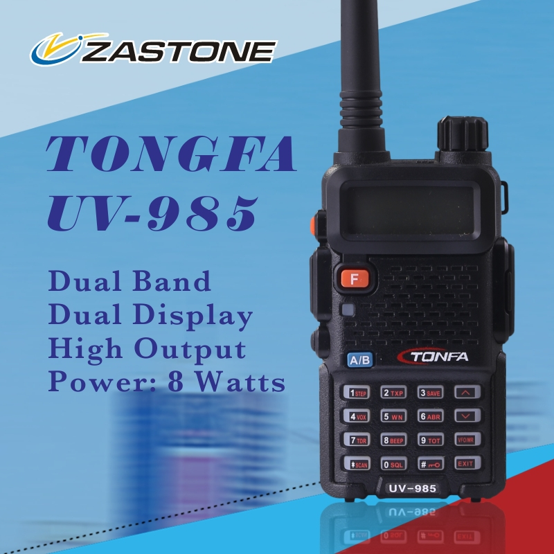 free shipping new Walkie Talkie TONFA 8W 128CH UV-985 dual band VHF136-174MHz & UHF400-470MHz two way radio UV985