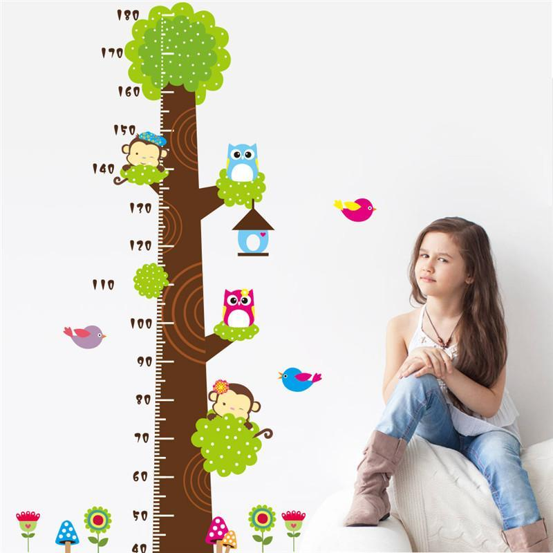 owl monkey butterfly flower tree growth chart wall art home decorations animal stickers cartoon children wall decals zooyoocd003(China (Mainland))