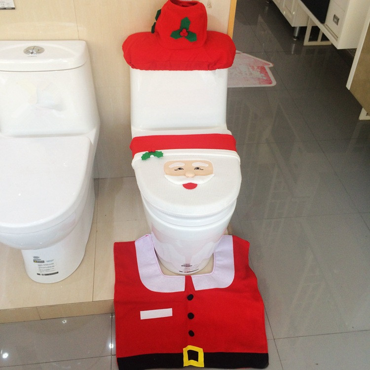 Santa Toilet Seat Cover Rug Bathroom Set Christmas Decoration Shop 16