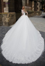 Buy Liyuke O-Neck Chaple Train Ball Gown Wedding Dress 2017 Appliques Lace Beadings Button Full Sleeves Bridal Dress robe de mariage for $258.28 in AliExpress store