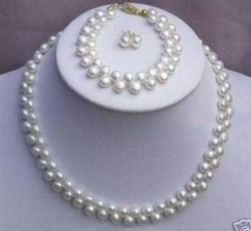 Free shopping!2015 beads jewelry making, Wholesale price! 7-8MM White Pearl Necklace Bracelet Earring set L2198(China (Mainland))