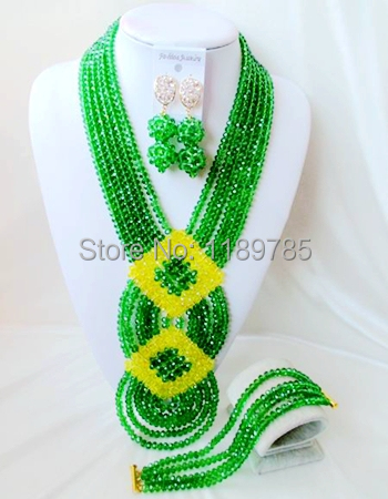 Luxury Bridal African Nigerian Crystal Beads necklace Jewelry suit Perfect Wedding women Jewelry Set Free Shipping B-12496<br><br>Aliexpress
