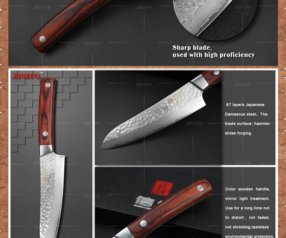 "Buy 2016 new XINZUO 5 "" japanese chef knife 67 layers Japanese Damascus kitchen knife VG10 santoku knife wood handle free shipping cheap"