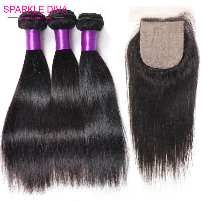 Malaysian Virgin Hair Straight With Closure Silk Closure And Bundles  Virgin Malaysian Hair With Silk Base Closures Human hair