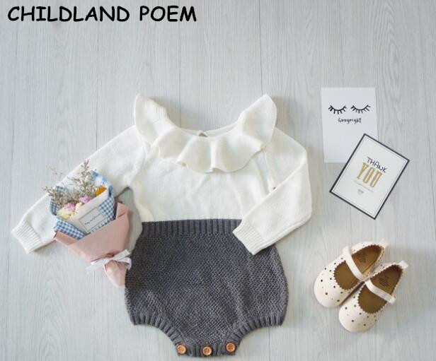 2017 Spring Autumn baby girls clothes newborn Baby Girl Clothing Ruffles Princess Girl Knitted Overalls Infant baby Romper