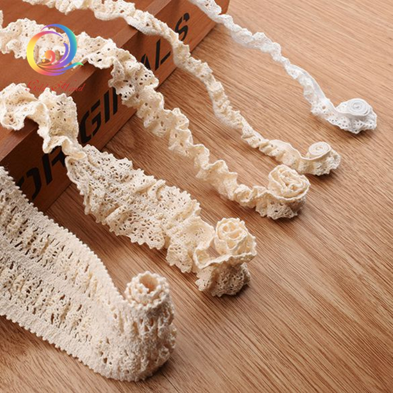 5 Yard/Piece,Knitted Cotton Stretch Lace Ribbon Beige Color,DIY Handmade Accessories,Craft & Gift Packing/Child Dress/Decoration(China (Mainland))