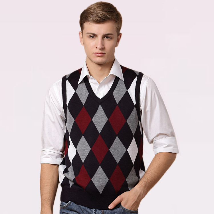 Vestidos 2015 Mens Sleeveless Sweater Vests Gilet Pullover Erkek Kazak V neck Jersey Hombre Argyle Men Sweaters and Pullovers(China (Mainland))