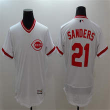 Mens Cincinnatis #21 Deion Sanders 2016 New FLEXBASE Red White Home Road Throwback 100% Stitched Baseball Jersey(China (Mainland))