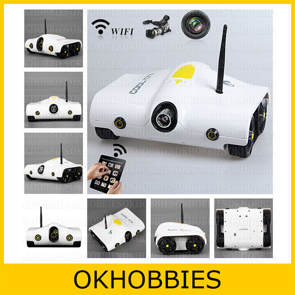 White Cool Chi i-Spy Wireless Rover Tank iSpy Infrared Night Vision Video Camera WiFi APP-Controlled by iPhone 5 New iPad iPod