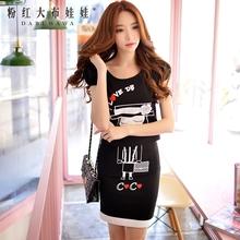 dabuwawa print skirt 2016 summer fashion casual cute slim high waisted mini pencil skirt black pink doll
