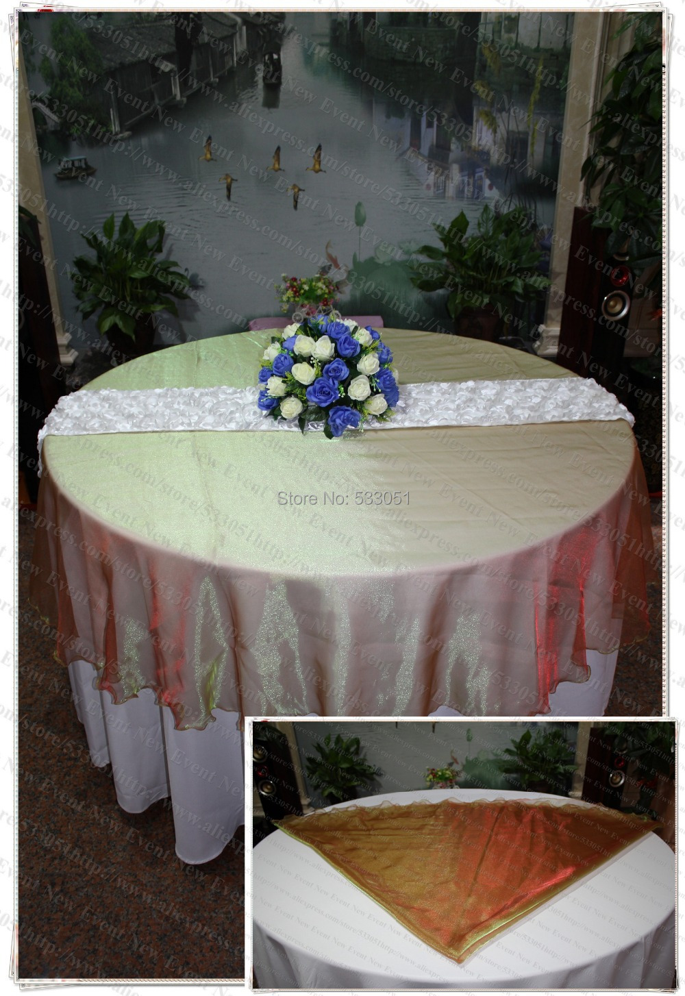 210cm Round NO.16 Green-Red Color Organza Table Overlay/Table Cover/Tablecloth For Wedding Party Home Hotel Banquet Decorations(China (Mainland))