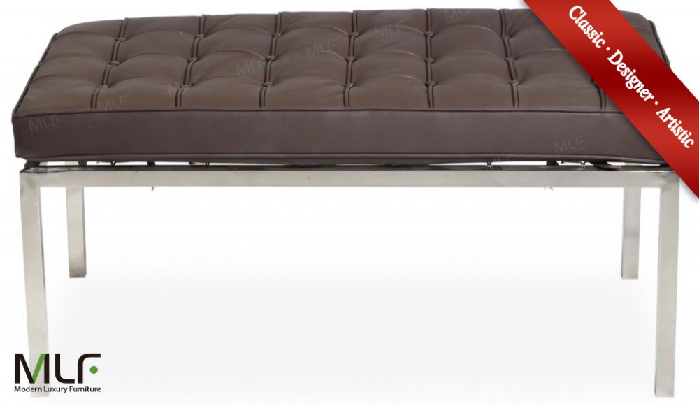 MLF Florence Knoll 2 Seater Bench. Dark Brown Italian Leather, Multi Density Foam Cushion, High Polished Stainless Steel Frame.(China (Mainland))