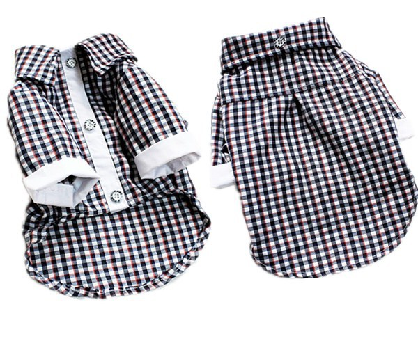 Plaid Shirt Dog Clothes in Summer Pet Tshirt Vest(China (Mainland))