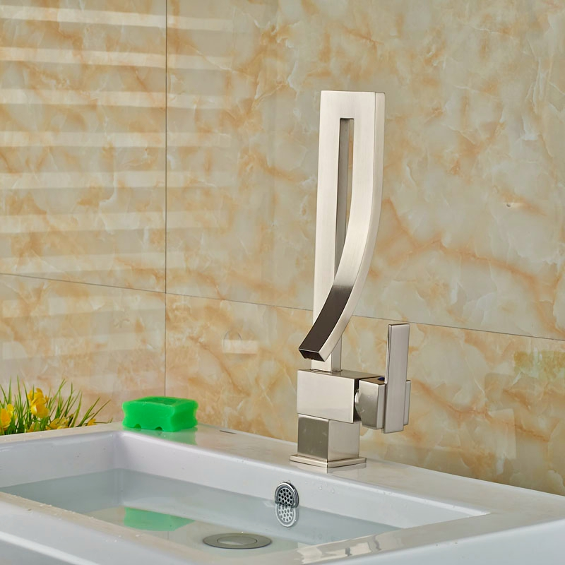 Wholesale And Retail Brushed Nickle Basin Faucet Bathroom Vanity Sink Tap MIxer Tap One Hole Single Handle(China (Mainland))