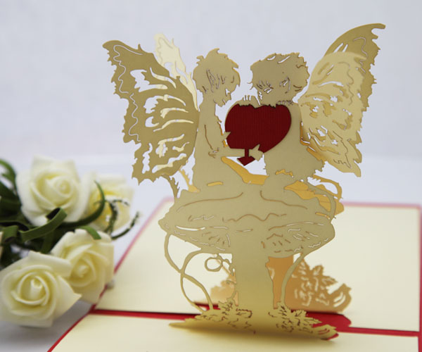 2013 new year laser cut 3d pop invitations cards paper art decoupage valentines love flower prince gift envelope - Ivy trade company ltd store