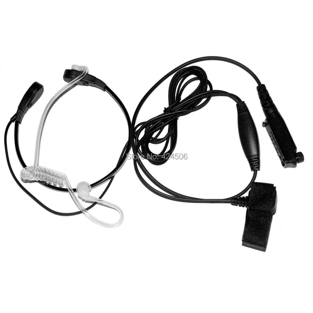 Throat Mic Acoustic Tube Earphone with Finger PTT and transparent tube for STP8000(China (Mainland))