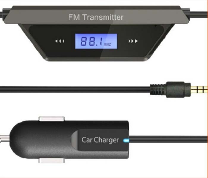 3.5mm FM Transmitter + Car Charger In Car Audio Adapter for Cell Phone Tablet PC New(China (Mainland))