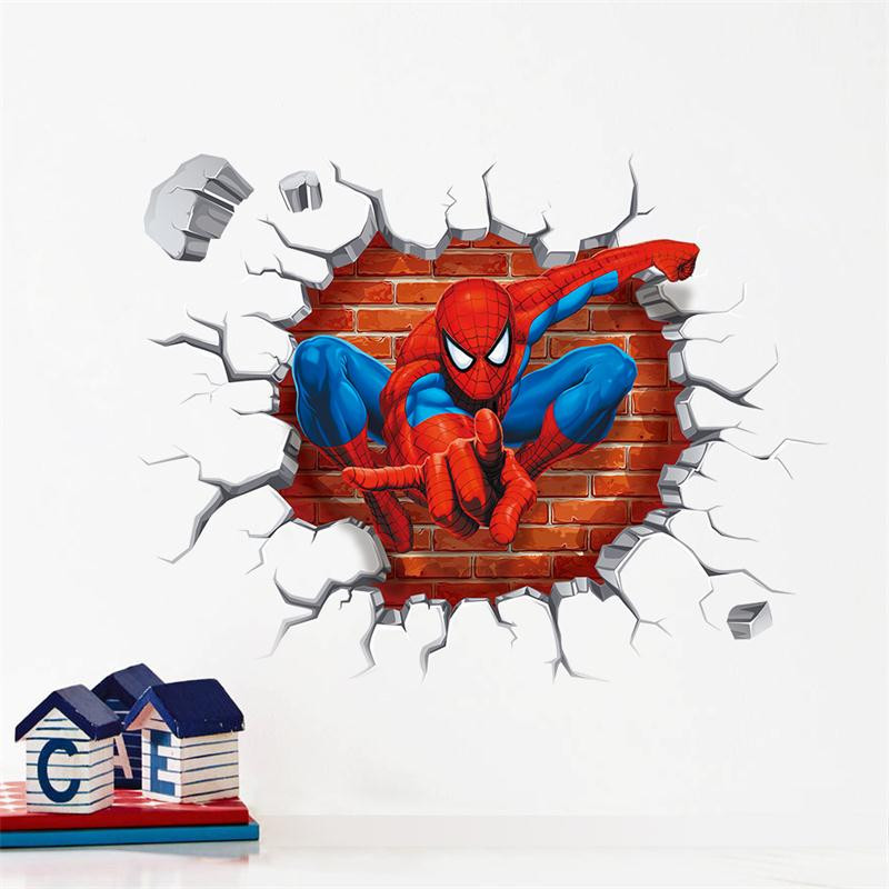 Cartoon Spider-man 3d wall stickers Spiderman wallpaper Nursery Wall Decals Home decoration for kids room living room Boy gift*(China (Mainland))