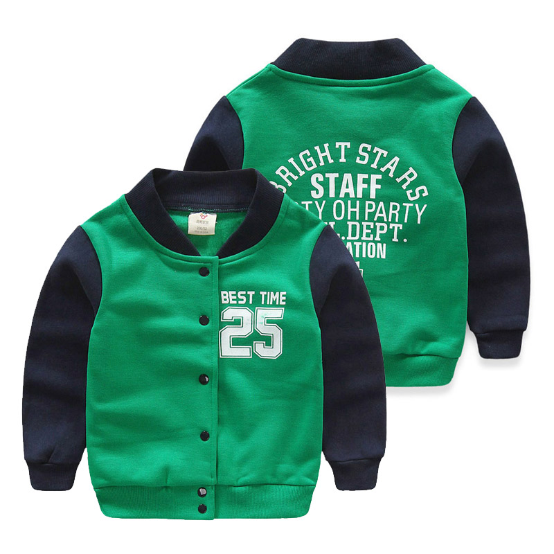 Clearance Price Spring & Autumn Kids Boys Outwear Long Sleeve Contrast Color Letter Print Jacket Baseball Coat Children Clothing(China (Mainland))
