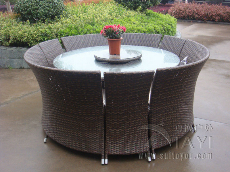 7 pcs Outdoor Rattan Garden Dining Sets All Weather