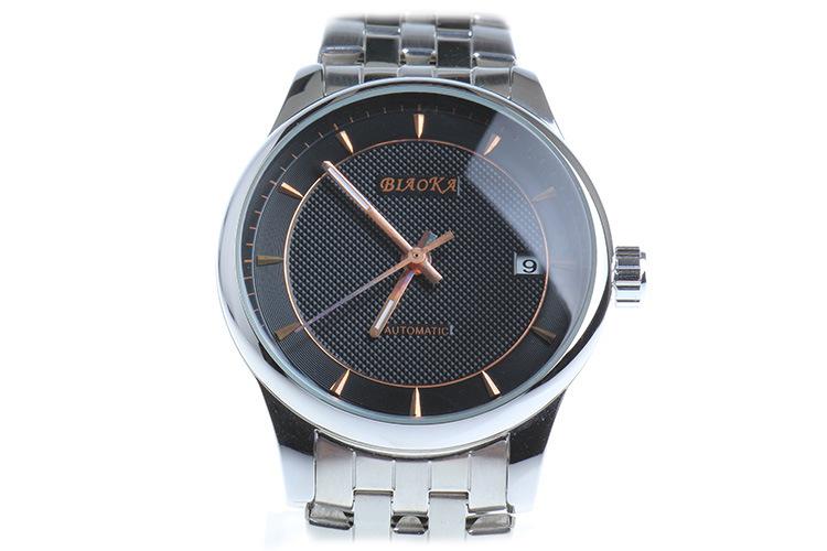 2016 Новый Бренд BIAOKA смотреть Простой стальной полосы водонепроницаемый календарь автоматические механические часы Аналоговые Скелет Человек Наручные Часы
