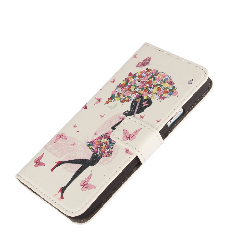 PU Leather Cover with Umbrella girl For Samsung Galaxy S5 Case Umbrella Girl PU Leather Cover with Stand For GalaxyS5 Case i9600(China (Mainland))