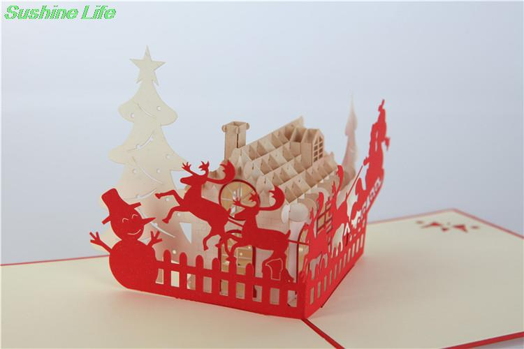 1pc Merry Christmas House 3D laser cut pop up paper handmade postcards custom greeting cards gifts wishes supplies(China (Mainland))
