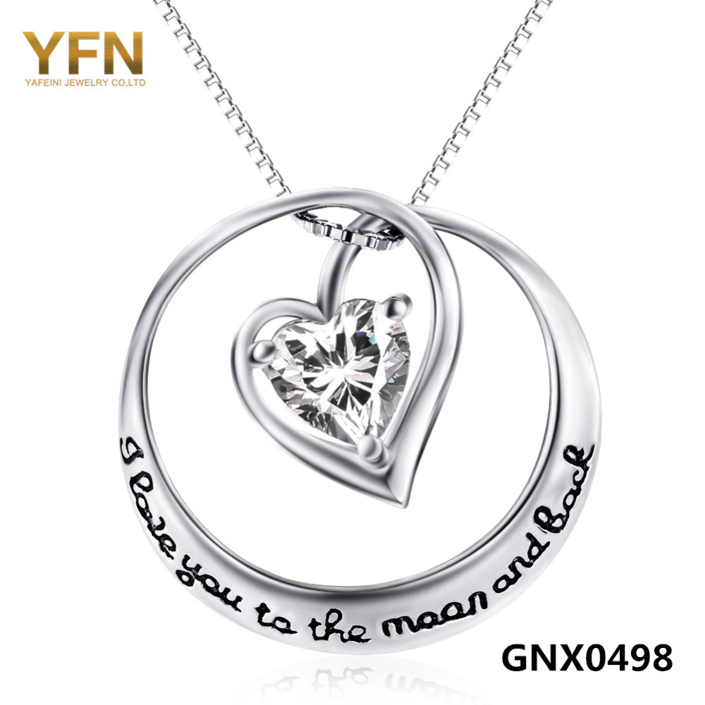 100% Real Pure 925 Sterling Silver Jewelry Crystal Heart Pendant Necklace Love Jewelry Valentine's Gifts For Women GNX0498(China (Mainland))