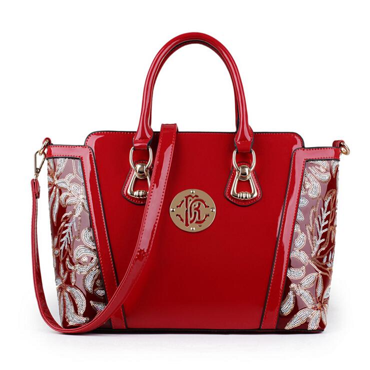 Genuine leather women handbag famous brand shoulder bag luxury fashion tote Clutch patent leather Sequins design messenger bag(China (Mainland))