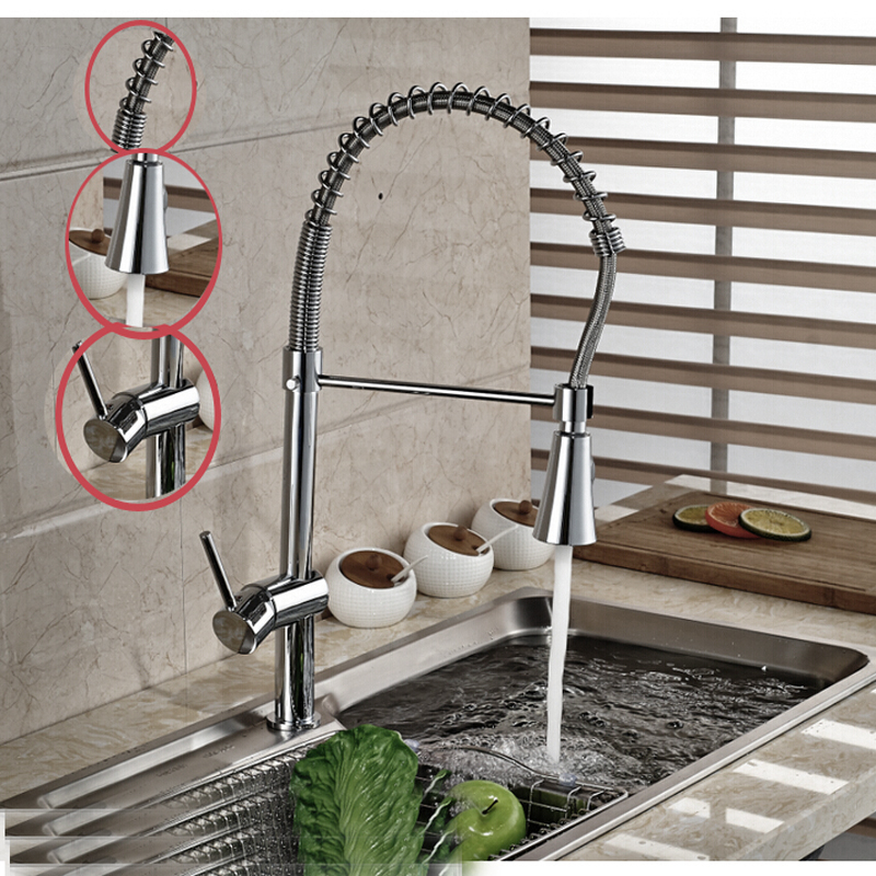 Здесь можно купить  Tall Style Chrome Brass Kitchen Faucet Srping Faucet Deck Mounted Sink Mixer Tap Single Handle Hole  Дом и Сад