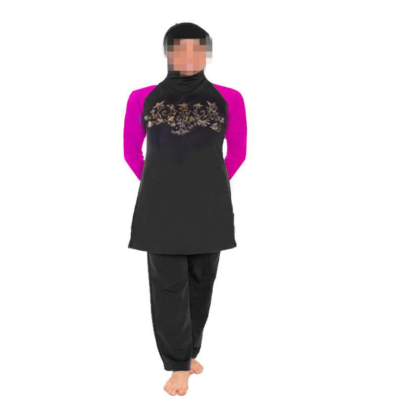 5XL-S Muslima Swimwear Fashion Plus Size Islamic Garment Women Long Sleeve Modest Maillot De Bain Islamique Hijab Swimming Suit(China (Mainland))