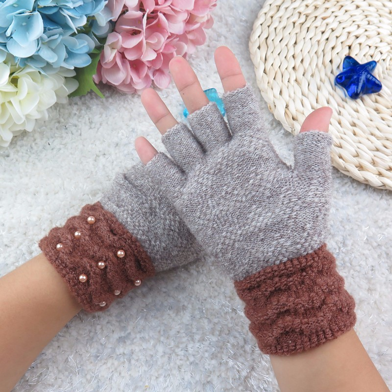 half finger gloves women Winter Female Warm faux fox Fur fingerless Gloves Women Knitted Wrist Glove mittens