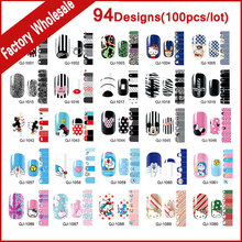 94Designs(100pcs) New Arrive Hot Cartoon Nail Sticker Adhesive Nail Patch Foils  Polish Wraps Nail Beauty Art Supplies