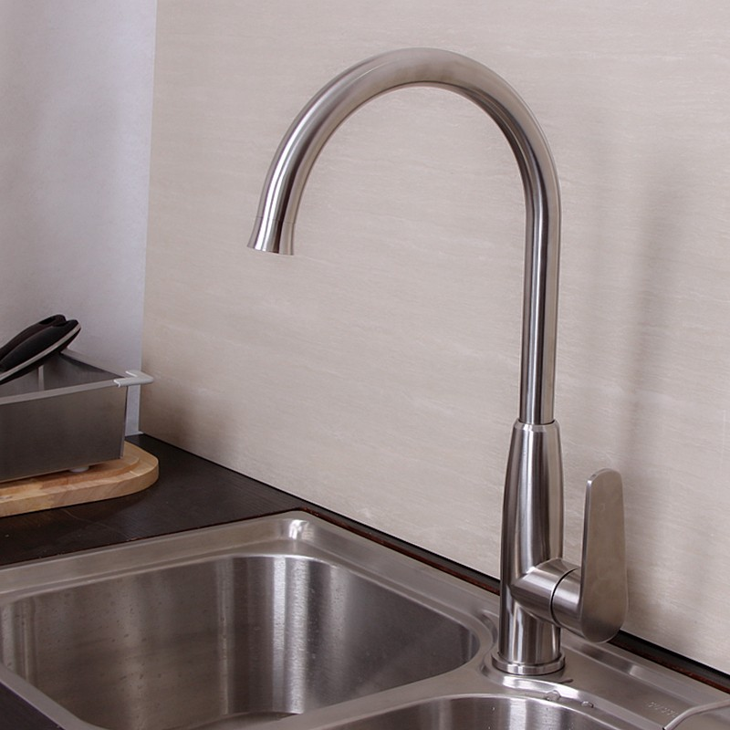 Contemporary Kitchen Faucet Hot And Cold Mixer Water Tap Deck Mounted  Rotate Stainless Steel Basin Sinks Tap Bathroom Faucets