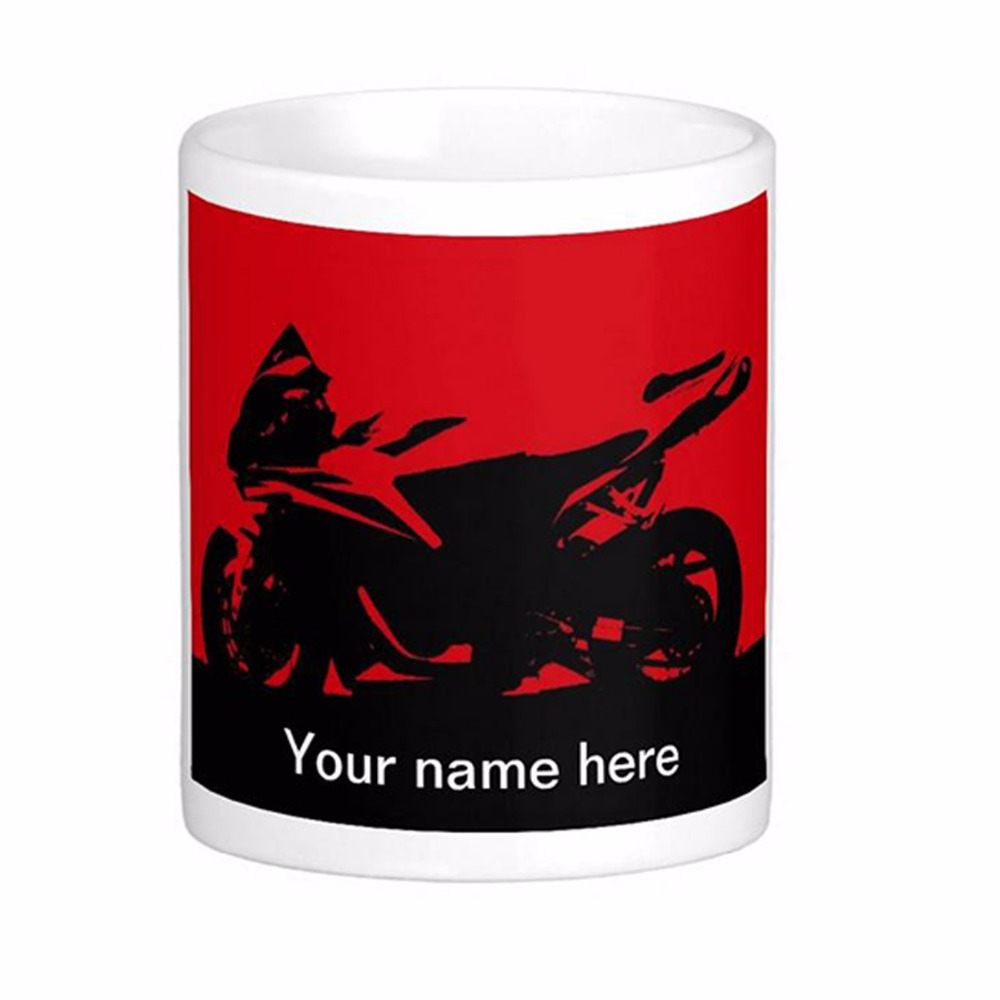 Motorcicle With Red Background And Name White Coffee Mugs Tea Mug Customize Gift By LVSURE Ceramic Cup Mug Travel Coffee Mugs(China (Mainland))