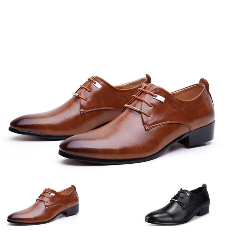 Гаджет  Mens Wedding Leather Shoes Male Solid Lace-up Pointed Toe WaterProof Fashion Soft Summer Breathable Business Shoes For Mens None Обувь