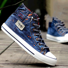 Buy Men's Denim Shoes 2016 Breathable High Canvas Shoes Men Shoes Casual Skate Footwear Zapatos Hombre free for $25.50 in AliExpress store
