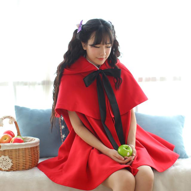 Высокое качество долли живота фирменные красный / черный сладкий из двух частей с капюшоном пончо куртка бесплатная доставка