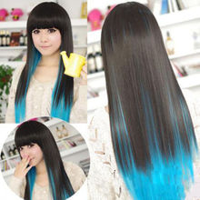 Free Shipping 2015 New Hot Sale Fashion Sexy Girl Anime Blue&Black Mixed Long Straight Wig Cosplay Party Wig Hair Bangs Hairband(China (Mainland))