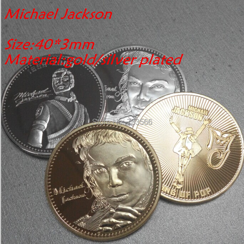 Michael Jackson KING OF POP music star Coin,MIX style silver/gold plated 4pcs/lot the commemorative coins in craft(China (Mainland))