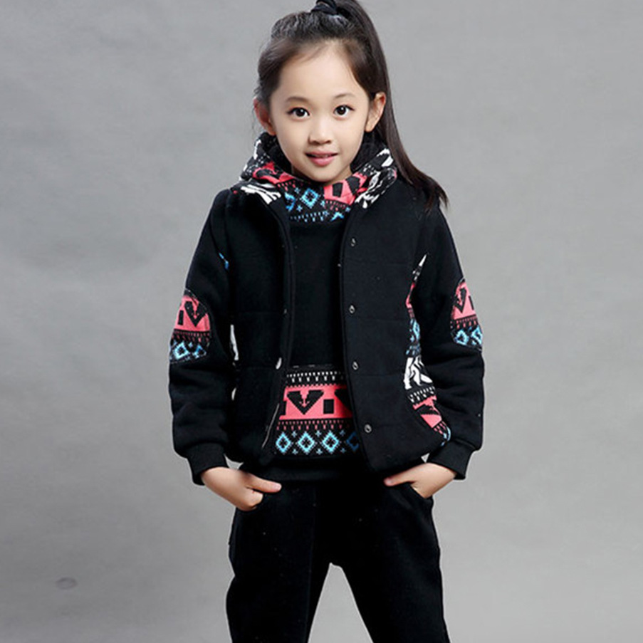 Free shipping 2016 new children girls boys clothing sets long sleeve Hooded winter cotton thicken warm 3pcs kids clothes suits88<br><br>Aliexpress